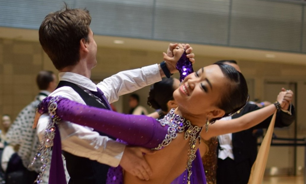Two members of Columbia's Ballroom Dance club perform for a competition.